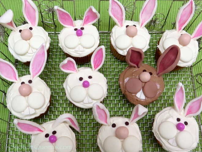 Funny bunny cupcake instructions