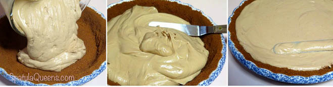 Biscoff Pie: Pour, smooth to set