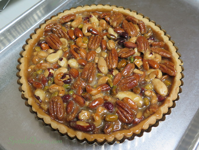 Caramel nut tart recipe from SpatulaQueens.com