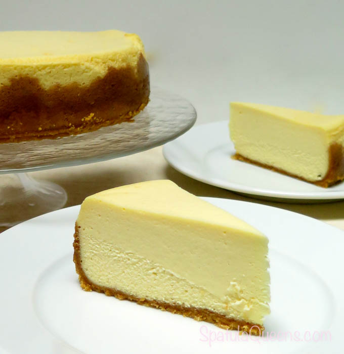 Dense and creamy cheesecake is perfect without topping