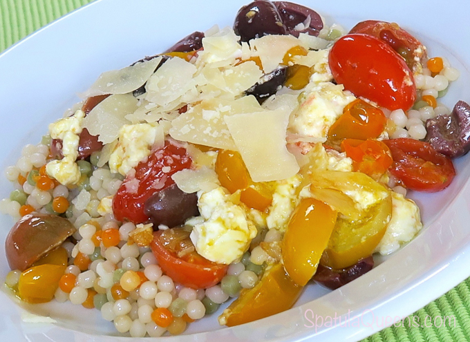 Cleaning Out the fridge - Feta, Tomato and Couscous - add some parmesan and serve