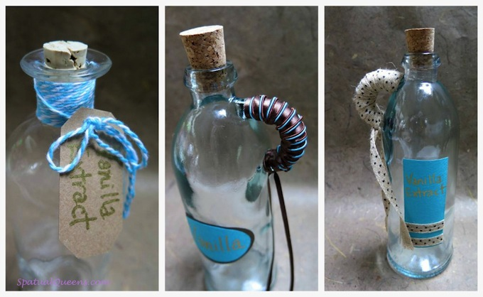 Homemade Vanilla Extract - decorated bottles