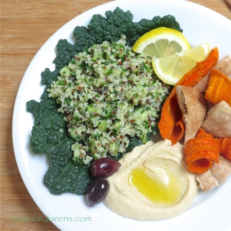 Quinoa Tabbouleh and Creamy Homemade Hummus
