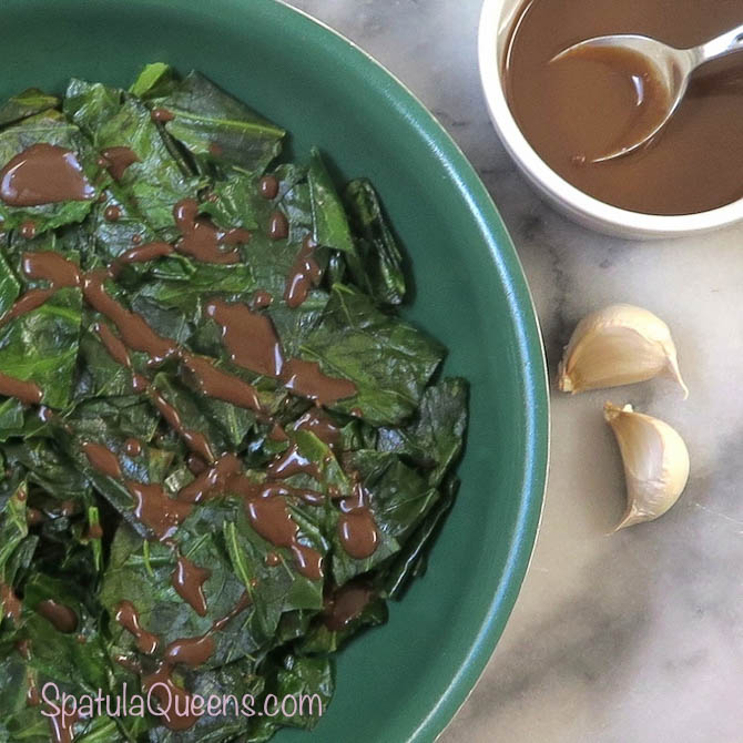 Sauteed collards with tahini balsamic drizzle