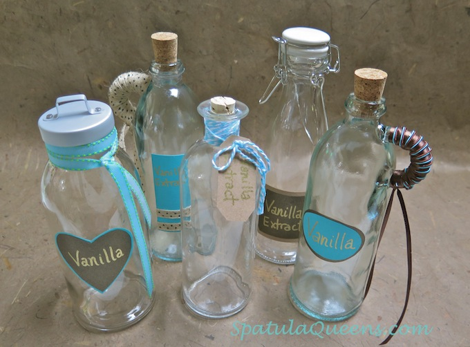 Homemade Vanilla Extract - Decorated bottle for gifts