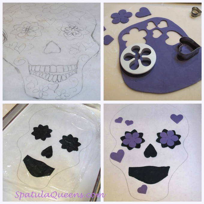 Skull cake - decoration steps